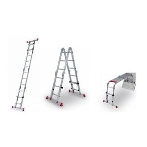 Escada telescópica, multiposições com estabilizadores.