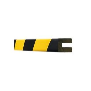 """Perfil em \""""U\"""" Amarelo/Preto em poliuretano,dim: 9x25x30mm"""