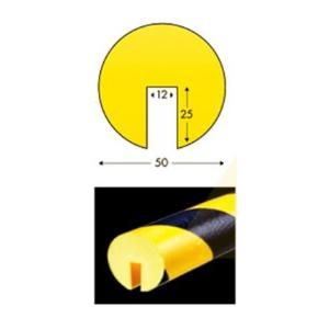 Protector de esquina amarelo/negro 50*1000mms em poliuretano
