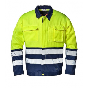Blusao Alta Visibilidade bicolor amarelo/azul 100% Algodao.