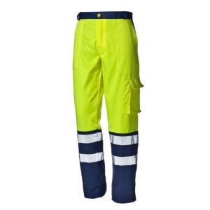 Calça Alta Visibilidade bicolor amarelo/azul 100% Algodao.