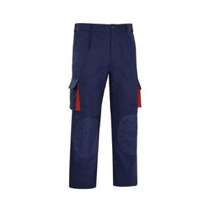 Calça multibolsos Azul Marinho com encaixes vermelhos,240grs