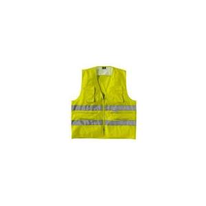 Colete reflector multibolsos de alta visibilidade em amarelo