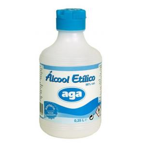 Alcool sanitário com 96% vol, embalagem 250 ml.
