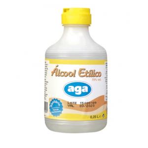 Alcool sanitário com 70% vol, embalagem 250 ml.