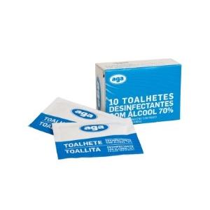 Toalhetes desinfectantes com alcool 70%.