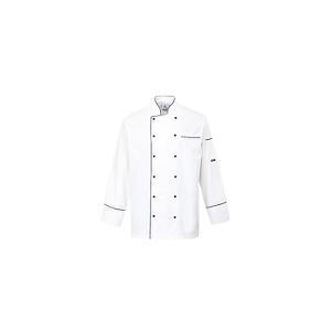 Casaco Chef Cambridge Branco c/ Aplicações Pretas 100% algod