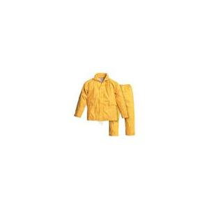 Fato impermeavel em poliuretano de cor amarelo