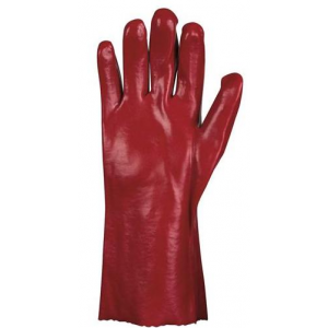 Luva PVC Vermelha, Forrada Algodão, 35cm Comprimento