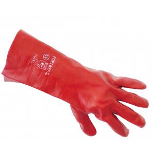Luva em PVC Vermelha, Tratam. Anti Bacteriano SANITIZED 45cm
