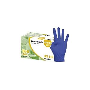 Luva Descartável de Nitrilo Soft Skin sem pó cor azul