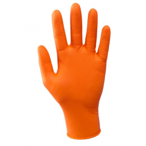 Luva descartável laranja de nitrilo s/pó AQL 1,5. Emb.50 und