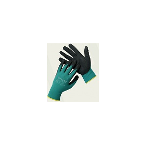 Luva de nylon verde QUARTZ com revestimento a nitrilo preto