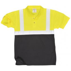 Polo bicolor de alta visibilidade Amarelo/Marinho cert.EN471