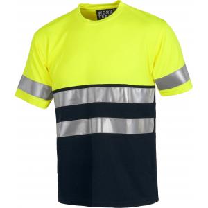 T-Shirt alta visibilidade bicolor Amarelo/Marinho
