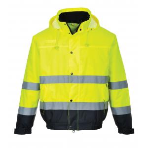 Blusão bicolor forrado de alta visibilidade Amarelo/Marinho