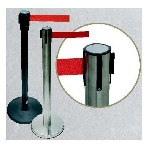 Barreira Retractil preta ou cromada com fita vermelha 2.20m