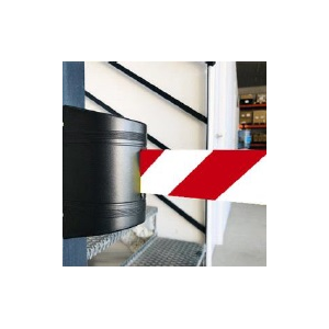 Suporte parede c/ cinta extensivel vermelha/branca de 3mts.