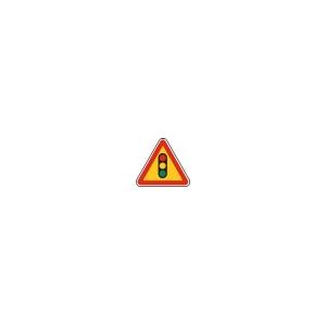 "Sinal Rodoviário Temp Triangular \""Semáforos\"" em Chapa L=0.70"