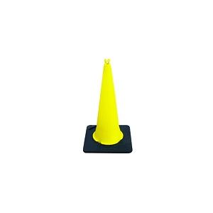 Cone amarelo de 1mt com base em preto e banda reflectora