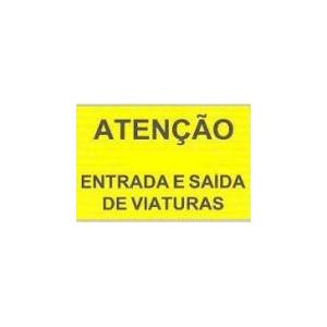 """Sinal Rod c/ fundo Amarelo\""""Atenção-Entrada Saida Viat\"""" 60*40"""
