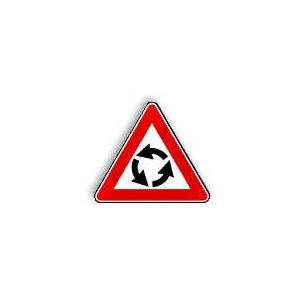 """Sinal Rodoviário Triangular \""""Aproximação Rotunda\"""" L=0.60"""