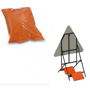 Saco laranja c/ areia, PVC  para fixar suporte de sinais.