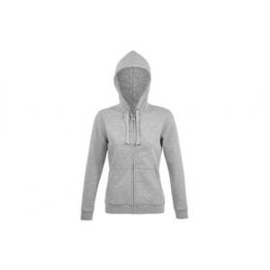Sweatshirt de senhora c/ capuz e fecho, 80% alg. 20% poli.