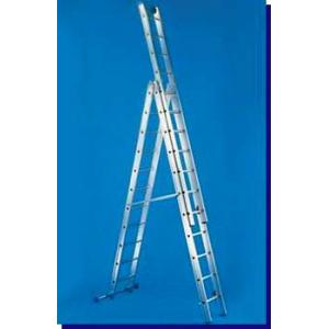 Escada Aluminio c/ dois lanços, c/ 4,80m totalmente aberta