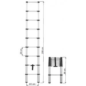 Escada Telescopica 88/2,80 mts pequena e facil transportar