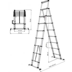 Escada Telescopica 79/2,85 mts pequena e facil transportar