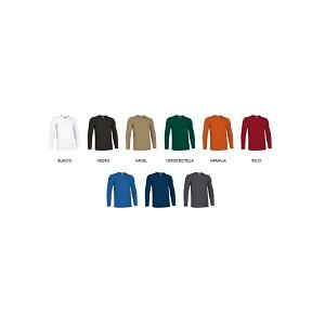 T-Shirt manga comprida  100% alg. c/ 160 grs. diversas cores